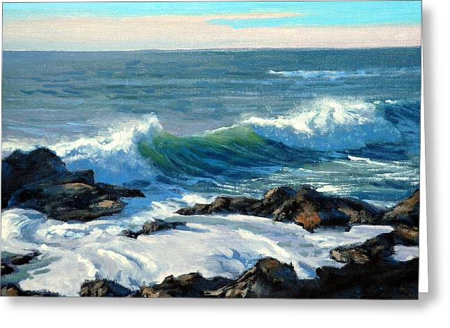 Pacific Grove Greeting Cards - Rising Surf Greeting Card by Armand Cabrera