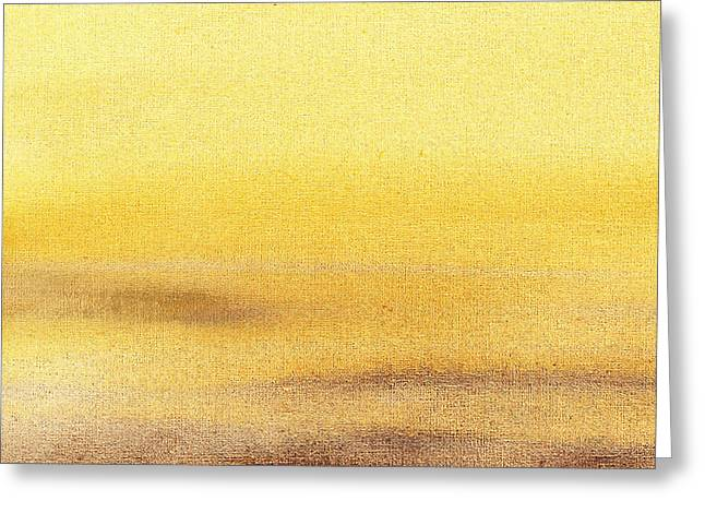 Beige Abstract Greeting Cards - Rising Yellow Abstract  Greeting Card by Irina Sztukowski