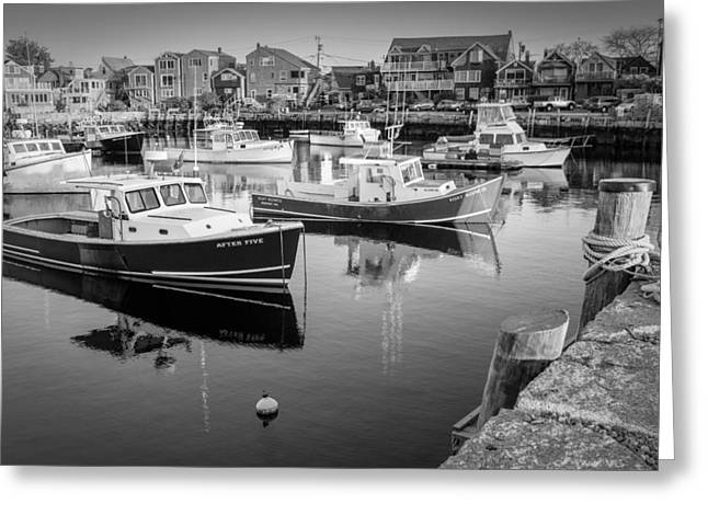 Wharf Greeting Cards - Risky Business After Five BW Greeting Card by Susan Candelario