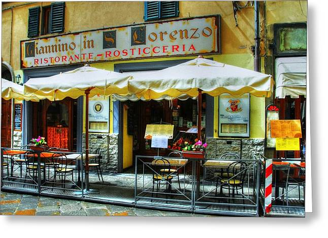 Italian Restaurant Greeting Cards - Ristorante In Florence Italy Greeting Card by Mel Steinhauer