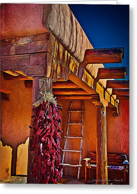 Taos Greeting Cards - Ristras Greeting Card by Charles Muhle