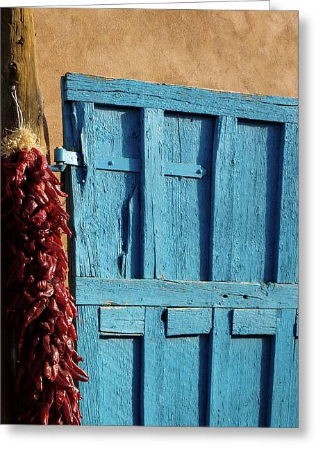 Gia Marie Houck Greeting Cards - Ristras in Taos Greeting Card by Gia Marie Houck