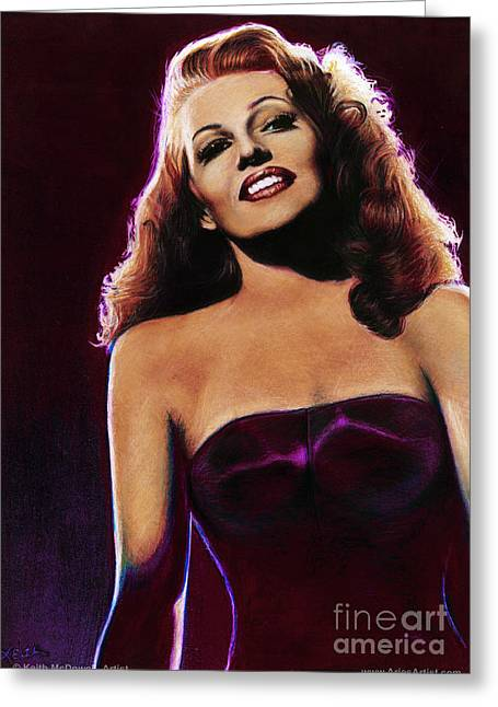 Rita Hayworth Greeting Cards - Rita Hayworth  @ AriesArtist.com Greeting Card by AriesArtist Com