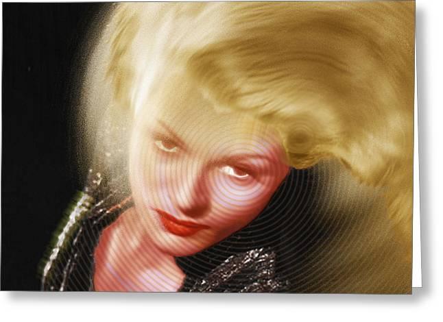 Rita Hayworth Greeting Cards - Rita Hayworth and Hair Greeting Card by Tony Rubino