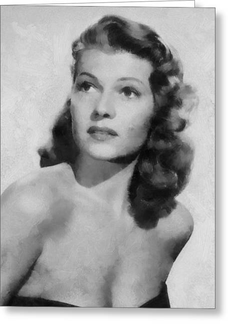 Hayworth Greeting Cards - Rita Hayworth Poster Greeting Card by Dan Sproul