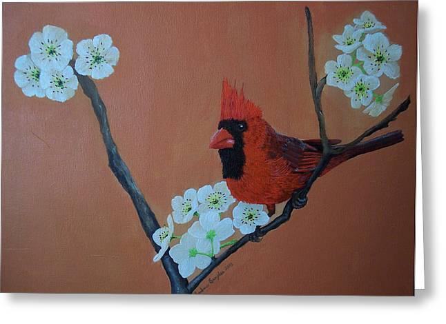 Rita's Redbird For Kevin Greeting Card by Barbara Samples