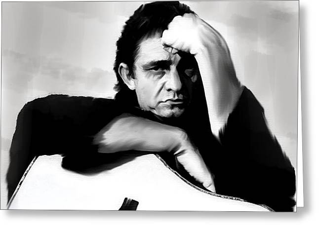 Rite Of Truth  Johnny Cash Greeting Card by Iconic Images Art Gallery David Pucciarelli