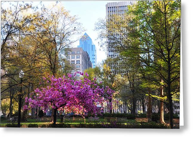 Cannon Greeting Cards - Rittenhouse Square in Springtime Greeting Card by Bill Cannon