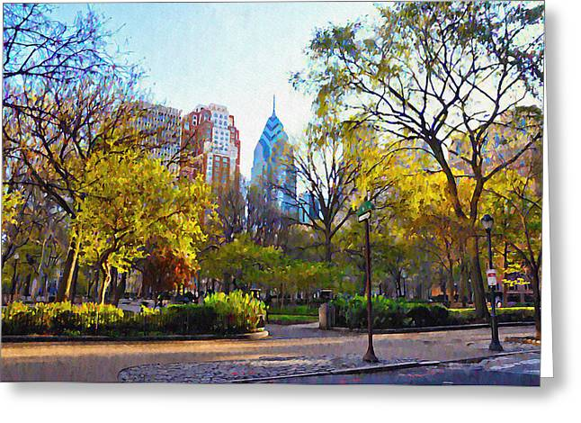 Phila Greeting Cards - Rittenhouse Square in the Spring Greeting Card by Bill Cannon