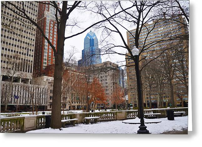 Rittenhouse Square Greeting Cards - Rittenhouse Square in Wintertime Greeting Card by Bill Cannon