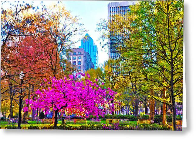 Rittenhouse Square Greeting Cards - Rittenhouse Square Rendering Greeting Card by Bill Cannon