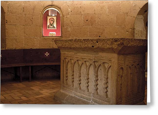 True Cross Greeting Cards - Ritual Altar at Templar Church Greeting Card by Lorraine Devon Wilke