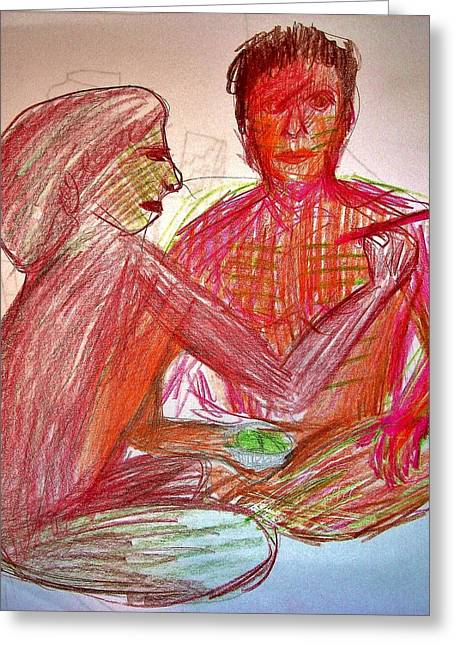 Festivities Drawings Greeting Cards - Ritual Greeting Card by Bart Jeczmienny