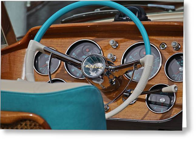 Runabout Greeting Cards - Riva Aquarama dashboard Greeting Card by Steven Lapkin