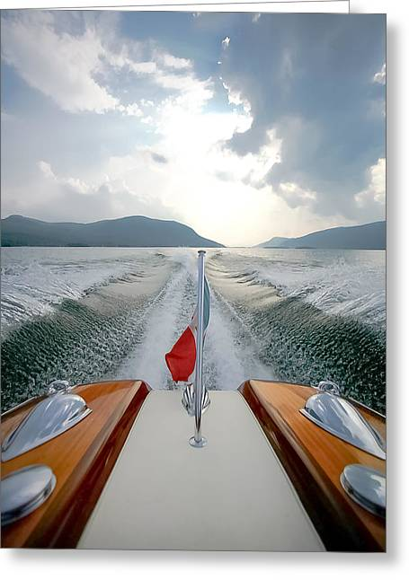 Runabout Greeting Cards - Riva Wake - New York Greeting Card by Steven Lapkin