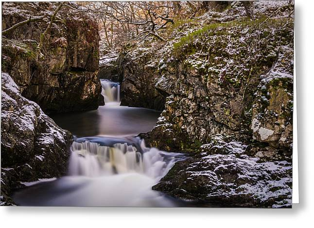 Cold Greeting Cards - Rival Falls In The Winter. Greeting Card by Daniel Kay