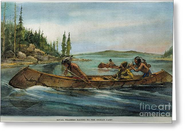 19th Century America Paintings Greeting Cards - Rival Fur Traders  Greeting Card by Granger