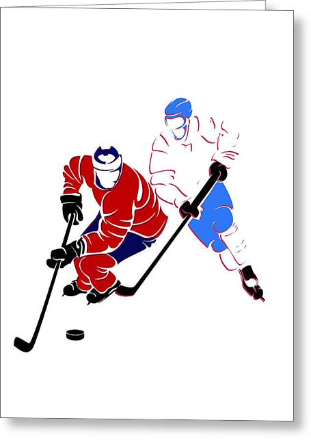 Montreal Canadiens Greeting Cards - Rivalries Canadiens And Nordiques Greeting Card by Joe Hamilton