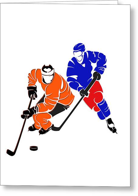 Flyer Greeting Cards - Rivalries Flyers And Rangers Greeting Card by Joe Hamilton