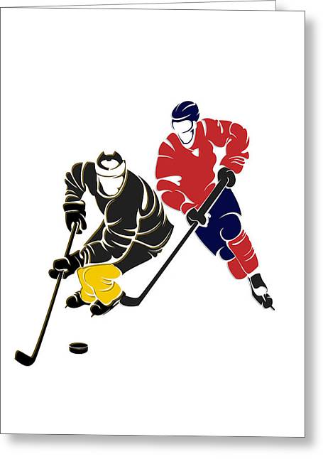 Pittsburgh Greeting Cards - Rivalries Penguins And Capitals Greeting Card by Joe Hamilton