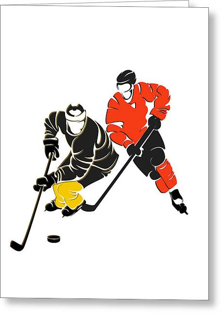 Pittsburgh Greeting Cards - Rivalries Penguins And Flyers Greeting Card by Joe Hamilton