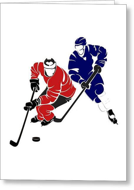 Maple Leafs Captain Greeting Cards - Rivalries Senators And Maple Leafs Greeting Card by Joe Hamilton