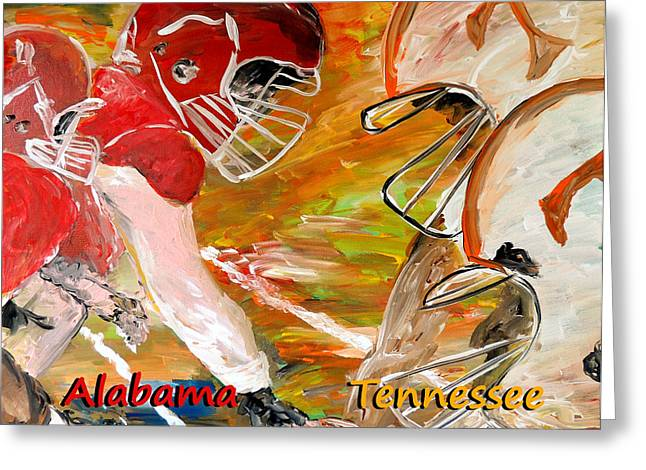 University Of Alabama Greeting Cards - Rivals Face To Face 1 Greeting Card by Mark Moore