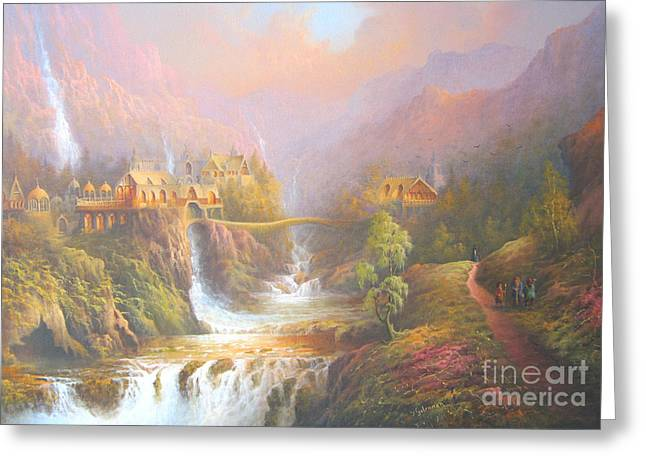 Best Sellers -  - Art Book Greeting Cards - Rivendell A Hobbits Tale. The Red Book Greeting Card by Joe  Gilronan