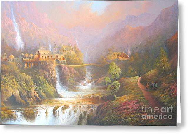 Bag Greeting Cards - Rivendell A Hobbits Tale. The Red Book Greeting Card by Joe  Gilronan