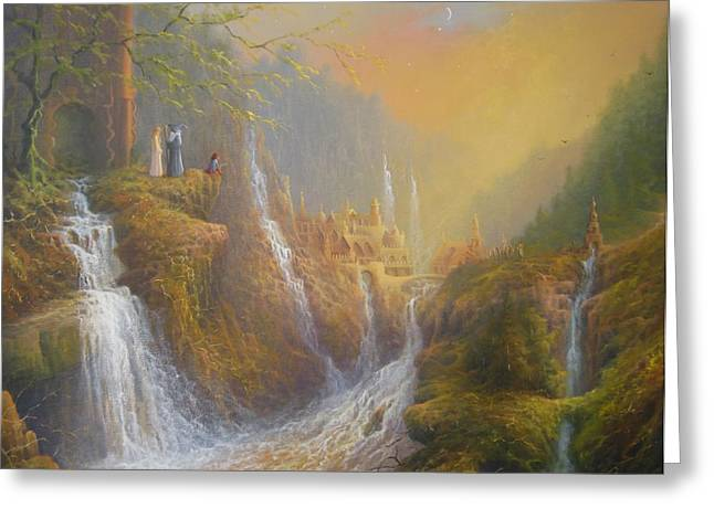 Hobbits Greeting Cards - Rivendell Wisdom Of The Elves. Greeting Card by Joe  Gilronan