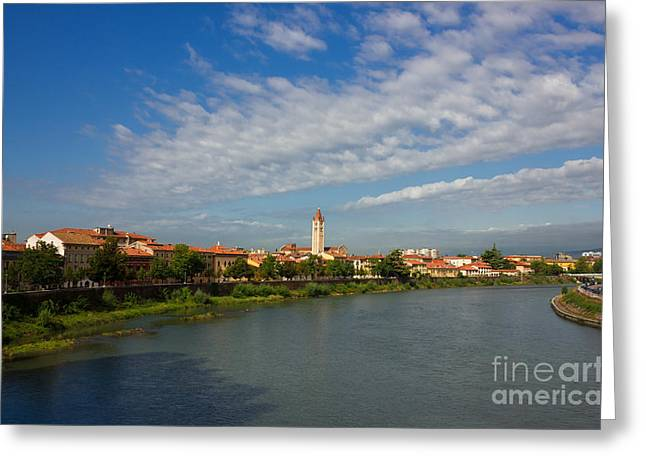 Old City Tower Greeting Cards - River Adige Panoramic View in Verona Greeting Card by Kiril Stanchev