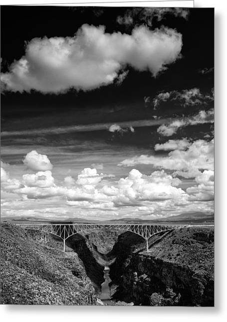 Santa Fe Desert Greeting Cards - River and Clouds Rio Grande Gorge - Taos New Mexico Greeting Card by Silvio Ligutti