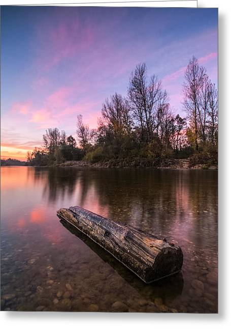 Riverscapes Greeting Cards - River at dawn Greeting Card by Davorin Mance