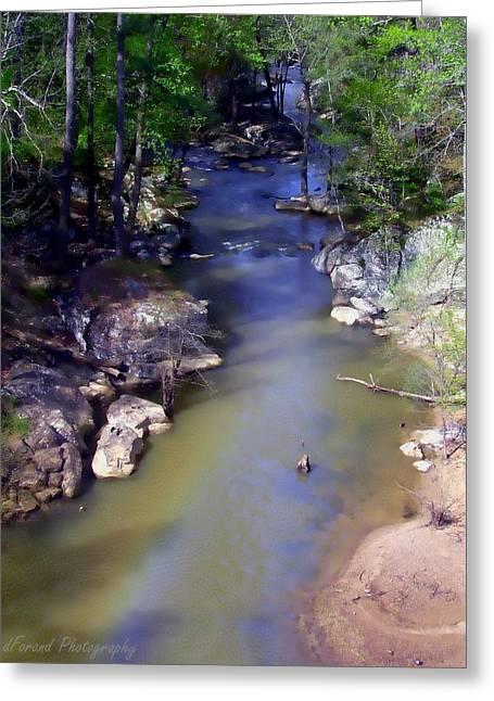 River At Noccalula Falls Greeting Card by Debra Forand
