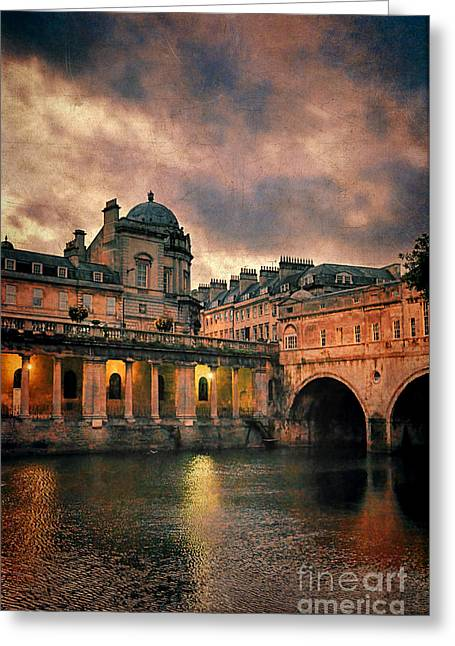 Pulteney Bridge Greeting Cards - River Avon at Dusk Greeting Card by Jill Battaglia