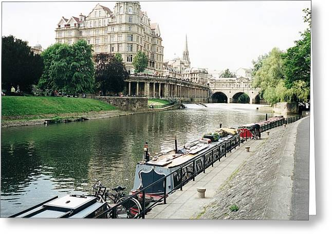 Pulteney Bridge Greeting Cards - River Avon in Bath England Greeting Card by Marilyn Wilson