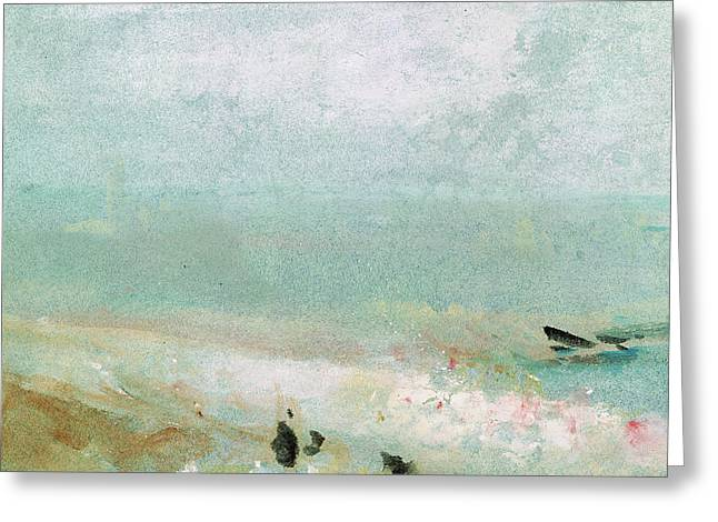 Blue Green Water Greeting Cards - River bank Greeting Card by Joseph Mallord William Turner