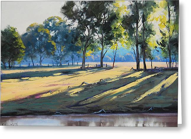 Beautiful Creek Paintings Greeting Cards - River bank shadows Tumut Greeting Card by Graham Gercken