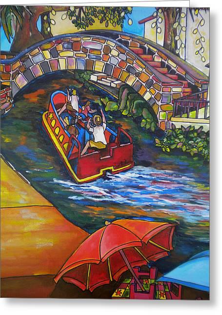 Riverwalk Paintings Greeting Cards - River Barge Greeting Card by Patti Schermerhorn