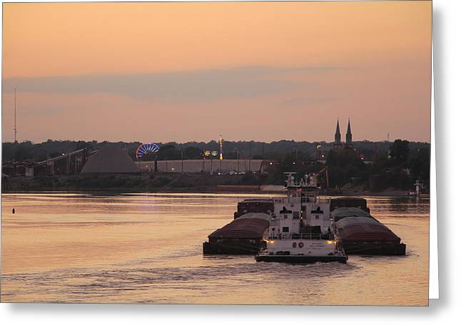 Southern Indiana Autumn Photographs Greeting Cards - River Bend Barge Greeting Card by Andrea Kappler