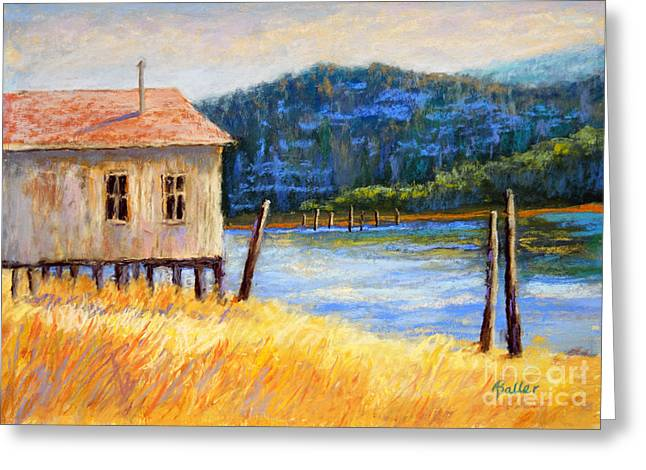 Water Vessels Pastels Greeting Cards - River Boat House Greeting Card by Arlene Baller