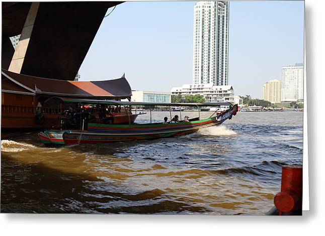 Thailand Greeting Cards - River Boat Taxi - Bangkok Thailand - 01135 Greeting Card by DC Photographer