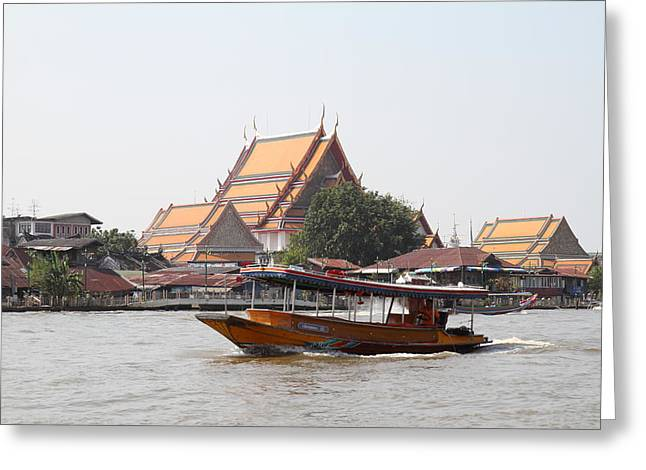 Taxi Greeting Cards - River Boat Taxi - Bangkok Thailand - 01139 Greeting Card by DC Photographer