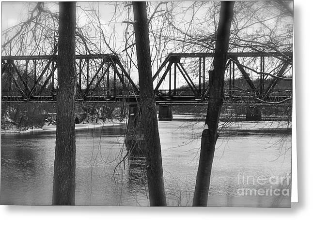 River Bridge Greeting Card by Jonathan Brown