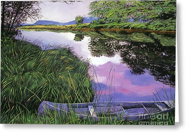Green Canoe Greeting Cards - River Canoe Greeting Card by David Lloyd Glover