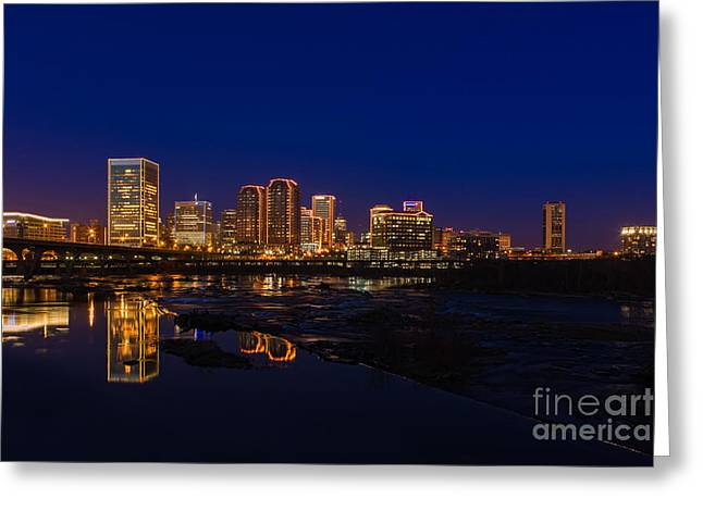 River City Blue Greeting Card by Tim Wilson