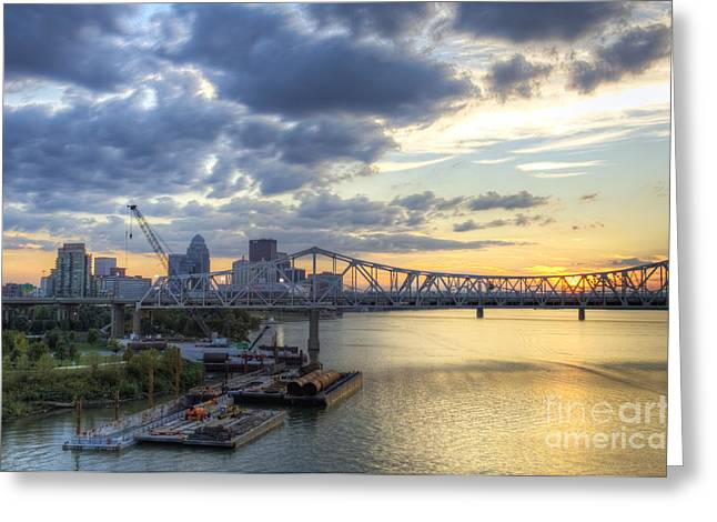 Building Crane Greeting Cards - River City - D008587 Greeting Card by Daniel Dempster