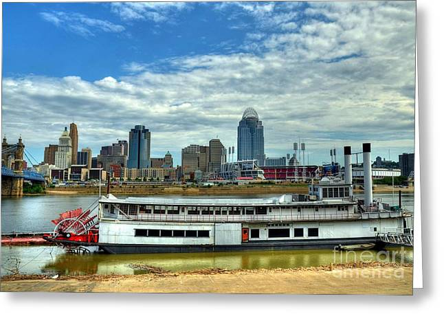 Baseball Stadiums Greeting Cards - River City Greeting Card by Mel Steinhauer