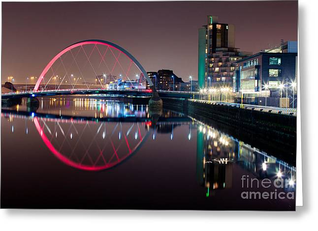 Night Scenes Photographs Greeting Cards - River Clyde at night Greeting Card by John Farnan