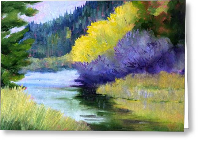 Deschutes Greeting Cards - River Color Greeting Card by Nancy Merkle